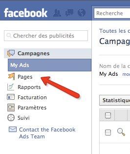 """Etape 2: Cliquer sur """"Pages"""""""