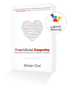 Front cover with book in 3D Heartificial Empathy with BBA 2019